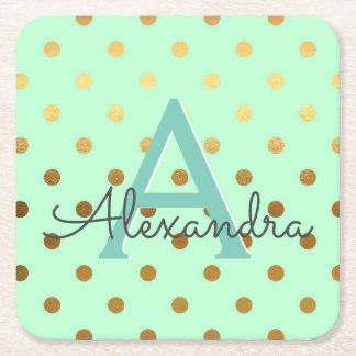 Mint and Gold Foil Polka Dots Monogram Birthday Square Paper Coaster