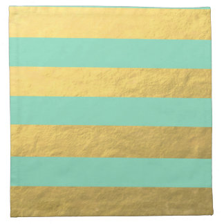 Mint and Gold Foil Stripes Printed Napkin