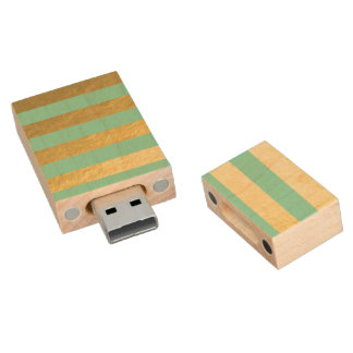 Mint and Gold Foil Stripes Printed Wood USB Flash Drive