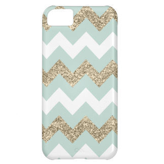 Mint and Gold Glitter Chevron iPhone 5C Case