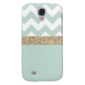 Mint and Gold Glitter Chevron Samsung Galaxy S4 Galaxy S4 Case