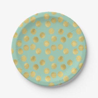 Mint and Gold Glitz Dots Paper Plate