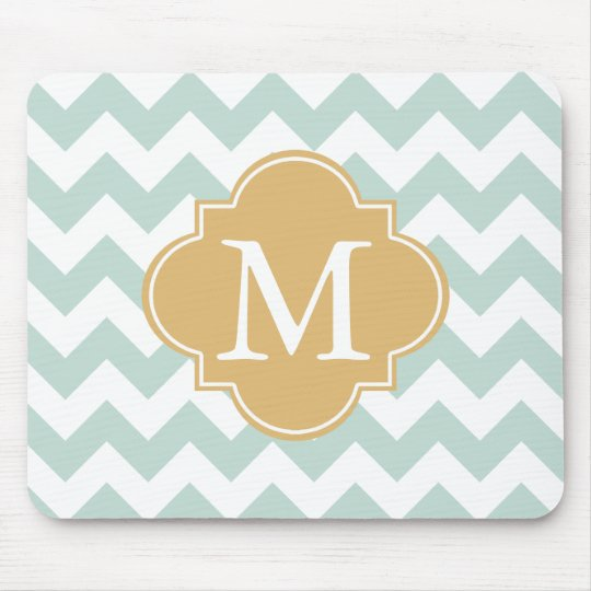 Mint and Gold Modern Chevron Custom Monogram Mouse Mat