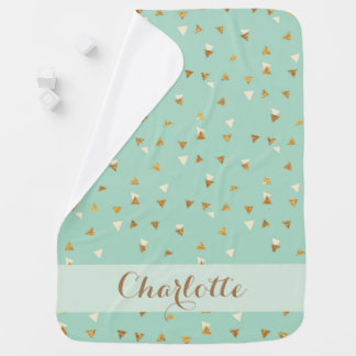 Mint and Gold Personalised Baby Blanket - Baby Gir