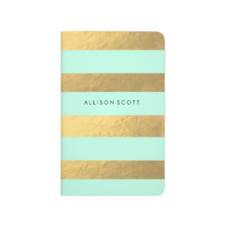 Mint And Gold Personalised Journal