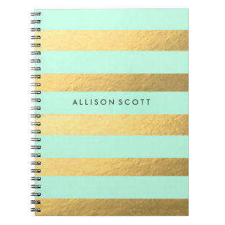 Mint And Gold Personalised Notebook