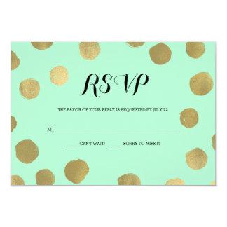 Mint and Gold Polka Dot Wedding RSVP card 9 Cm X 13 Cm Invitation Card