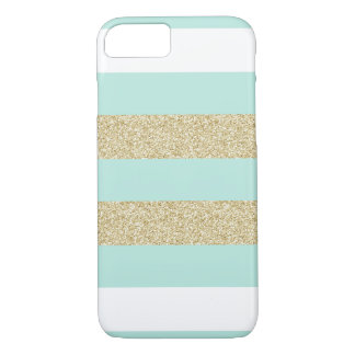 Mint and Gold Stripe Pattern iPhone 8/7 Case