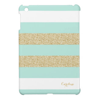 Mint and Gold Stripe Pattern with Monogram iPad Mini Cover
