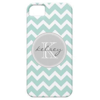 Mint and Gray Chevron Custom Monogram iPhone 5 Cases