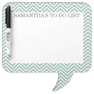 Mint and Gray Chevrons with Custom Name Dry Erase Whiteboard