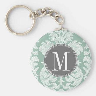 Mint and Gray Damask Pattern Custom Monogram Key Ring