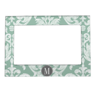 Mint and Gray Damask Pattern Custom Monogram Magnetic Frame