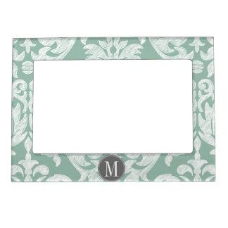 Mint and Gray Damask Pattern Custom Monogram Photo Frame Magnet