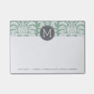 Mint and Gray Damask Pattern Custom Monogram Post-it Notes
