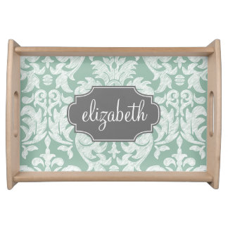 Mint and Gray Damask Pattern Custom Name Food Trays