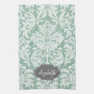 Mint and Gray Damask Pattern Custom Name Tea Towel