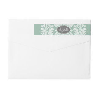 Mint and Gray Damask Pattern Custom Name Wrap Around Label