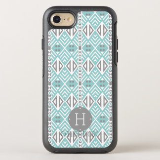 Mint and Gray Geometric Tribal Pattern Monogram OtterBox Symmetry iPhone 8/7 Case
