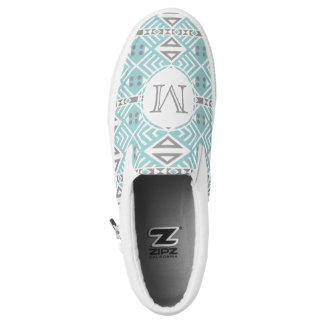 Mint and Gray Geometric Tribal Pattern Monogram Printed Shoes