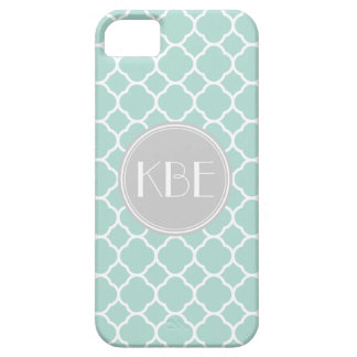 Mint and Gray Quatrefoil with Custom Monogram iPhone 5 Covers