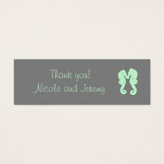Mint and Gray Seahorse Skinny Thank You Tags Mini Business Card