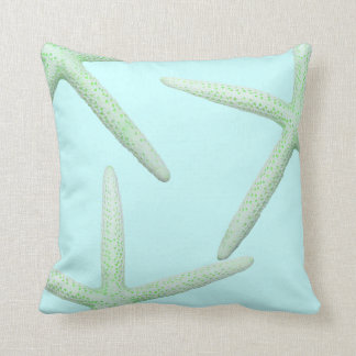 Mint and Green Starfish Coastal Decor Pillow