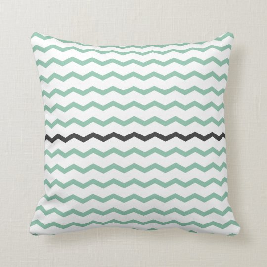 Mint and Grey Chevron Cushion