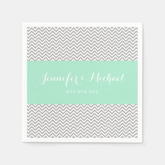 Mint and Grey Chevron Personalised Paper Serviettes