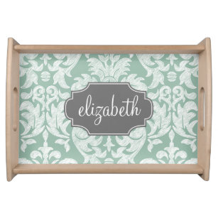 Mint and Grey Damask Pattern Custom Name Serving Tray