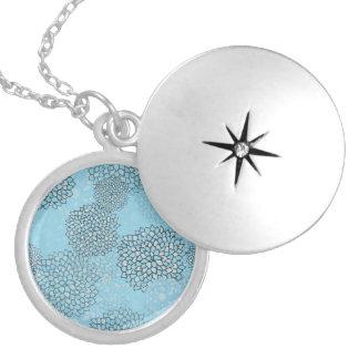 Mint and Grey Flower Burst Design Round Locket Necklace