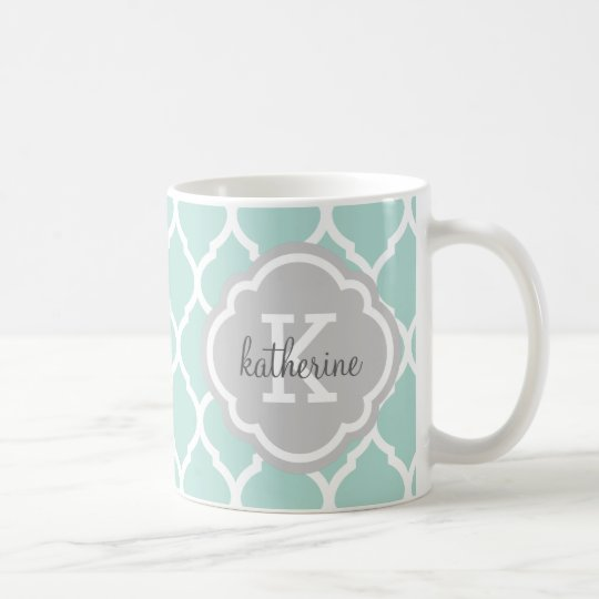Mint and Grey Moroccan Quatrefoil Monogram Coffee Mug