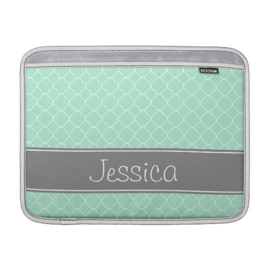Mint and Grey Quatrefoil Pattern Personalised MacBook Sleeves