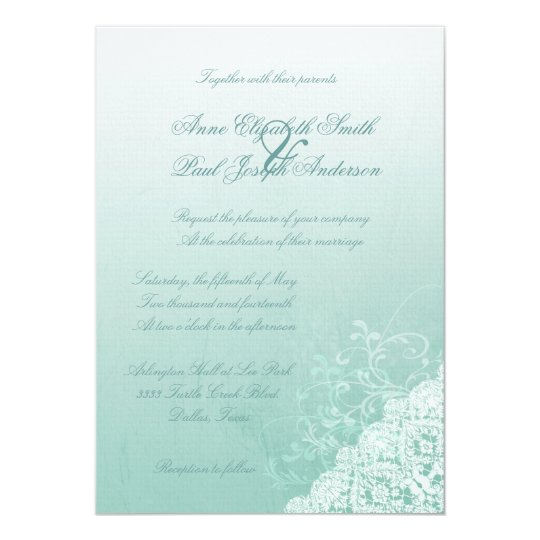 Mint and Lace Ombre Wedding Invitations