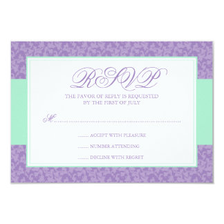 Mint and Lavender Damask Swirl Response Card