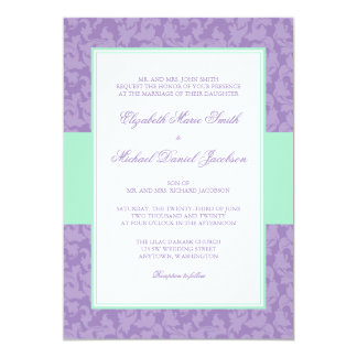 Mint and Lavender Damask Swirl Wedding Invitation