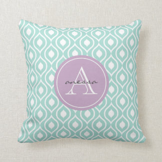 Mint and Lilac Gail Print Cushion