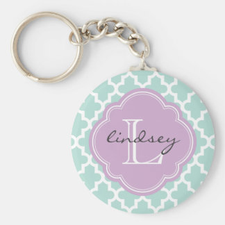 Mint and Lilac Modern Moroccan Custom Monogram Key Ring