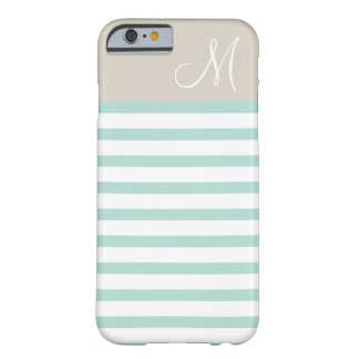 Mint and Linen Beige Preppy Stripes Monogram Barely There iPhone 6 Case
