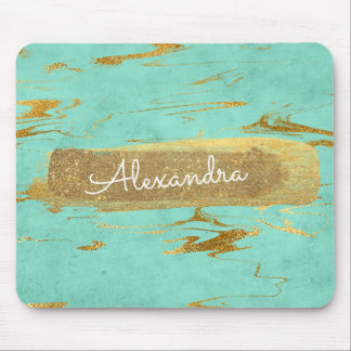 Mint and Marble with Gold Foil and Glitter Mouse Mat