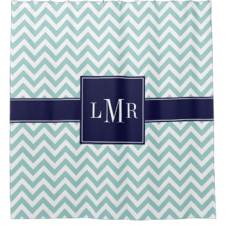 Mint and Navy Chevrons Monogram Shower Curtain