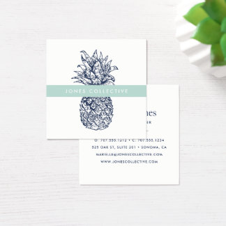 Mint and Navy Pineapple Square Business Card