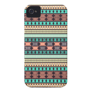 Mint and Peach Aztec Pattern iPhone 4 Case-Mate Cases