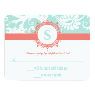 Mint and Peach Monogram Damask Wedding Invitations