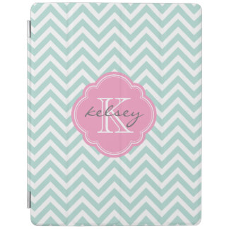 Mint and Pink Chevron Custom Monogram iPad Cover