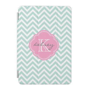 Mint and Pink Chevron Custom Monogram iPad Mini Cover