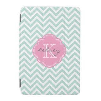 Mint and Pink Chevron Custom Monogram iPad Mini Cover