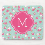 Mint and Pink Chic Vintage Floral Print Monogram