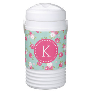 Mint and Pink Chic Vintage Floral Print Monogram Drinks Cooler