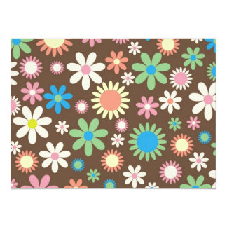 Mint and Pink Chocolate Flowers 14 Cm X 19 Cm Invitation Card